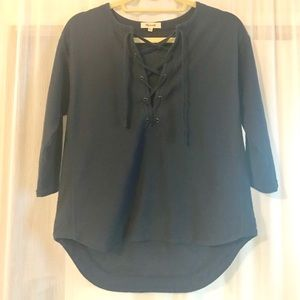 Madewell Tops - Madewell Lace Up Neck Navy Pullover Sweatshirt